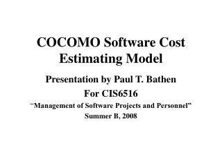 COCOMO Software Cost Estimating Model