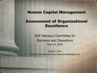 Human Capital Management Assessment of Organizational Excellence
