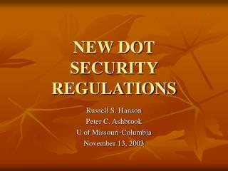 NEW DOT SECURITY REGULATIONS