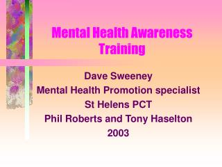 Mental Health Awareness Training