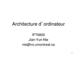 Architecture d ' ordinateur