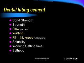 Dental luting cement