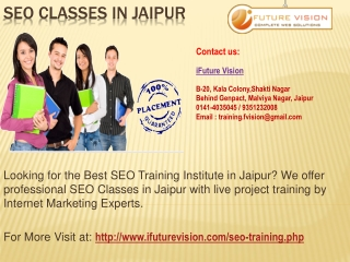 Professional SEO Training Classes in Jaipur