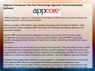 Appcore Introduces The First Technology Agnostic Cloud Autom