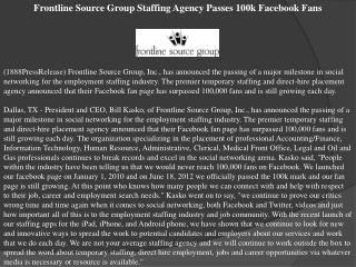 frontline source group staffing agency passes 100k facebook