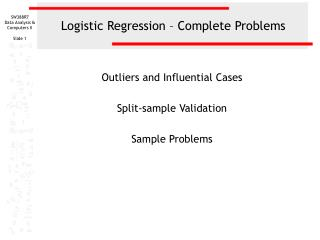 Logistic Regression   Complete Problems