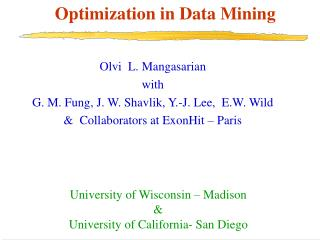 Optimization in Data Mining