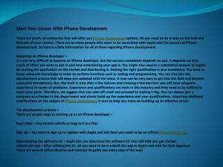 start your career with iphone development