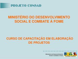 MINISTÉRIO DO DESENVOLVIMENTO SOCIAL E COMBATE À FOME CURSO DE CAPACITAÇÃO EM ELABORAÇÃO DE PROJETOS