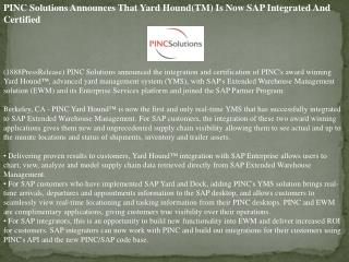 pinc solutions announces that yard hound(tm) is now sap inte