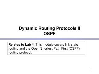 Dynamic Routing Protocols II OSPF