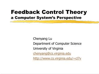 Feedback Control Theory  a Computer System's Perspective