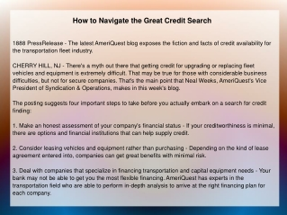 How to Navigate the Great Credit Search