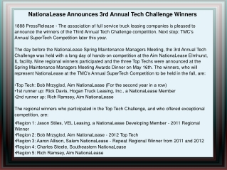 NationaLease Announces 3rd Annual Tech Challenge Winners