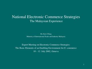 National Electronic Commerce Strategies  The Malaysian Experience