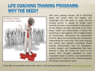 Life Coaching Training Programs- Why the need?