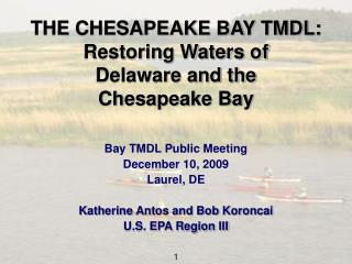 THE CHESAPEAKE BAY TMDL: Restoring Waters of  Delaware and the  Chesapeake Bay