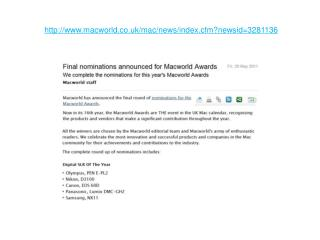 final nominations announced for macworld awards