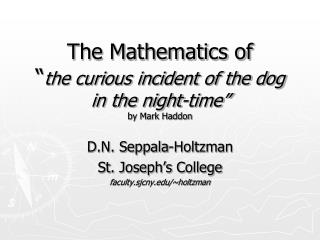 "The Mathematics of "" the curious incident of the dog in the night-time"" by Mark Haddon"