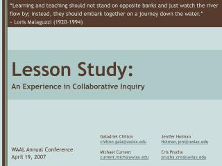 Lesson Study: An Experience in Collaborative Inquiry