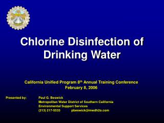 Chlorine Disinfection of Drinking Water