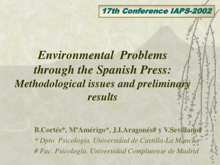 Environmental  Problems through the Spanish Press: Methodological issues and preliminary results