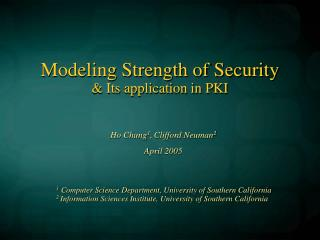 Modeling Strength of Security & Its application in PKI