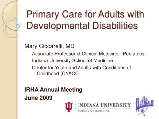 Primary Care for Adults with Developmental Disabilities