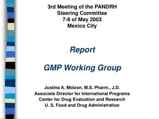 Pan American Network for  Drug Regulatory Harmonization Work Plan 2000 - 2001