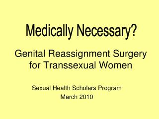 Genital Reassignment Surgery for Transsexual Women