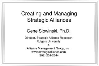 Creating and Managing Strategic Alliances