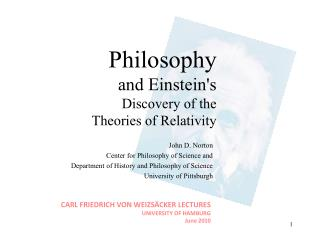 Philosophy and Einstein's Discovery of the Theories of Relativity