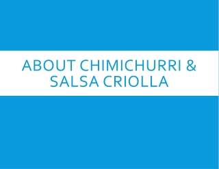 Chimichurri & Salsa Criolla