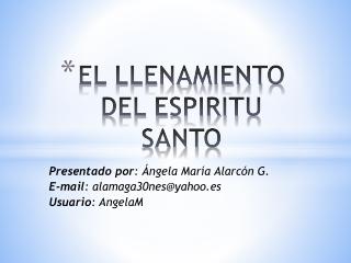 LLENAMIENTO DEL ESPIRITU SANTO
