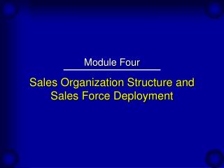 Sales Organization Structure and Sales Force Deployment