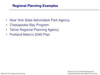 Regional Planning Examples