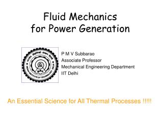 Fluid Mechanics for Power Generation