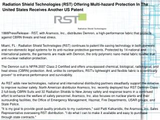 Radiation Shield Technologies (RST) Offering Multi-hazard Pr