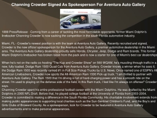 Channing Crowder Signed As Spokesperson For Aventura Auto Ga