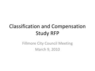 Classification and Compensation Study RFP