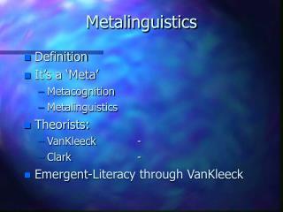 Metalinguistics