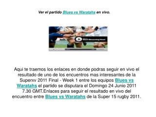 ver el partido blues vs waratahs en vivo por internet (super