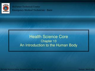 Health Science Core Chapter 13 An Introduction to the Human Body