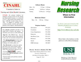 As always, start your research at the Shimberg Health Sciences Library homepage http://www.library.hsc.usf.edu