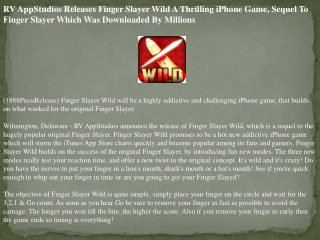rv appstudios releases finger slayer wild a thrilling iphone