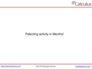 ipcalculus - menthol patenting activity