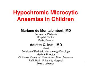 Hypochromic Microcytic Anaemias in Children