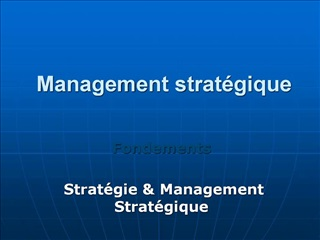 Management strat gique