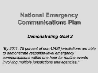 National Emergency Communications Plan