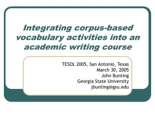 Integrating corpus-based vocabulary activities into an academic writing course
